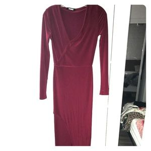 Missguided tight long red dress